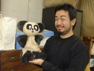 手作りパンダ人形&謎の青年